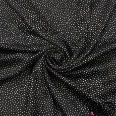 Crêpe Polyester Satiné Imprimé Motif Pois Blanc et Rose fond Noir