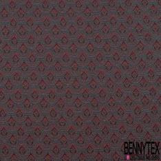 Brocart Jacquard Tissé effet Plume de Paon Emeraude Rose Noir Lurex Cuivre