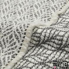 Jacquard de Laine motif Feuille géométrique Japonisant Blanc Cassé Noir Lurex Or