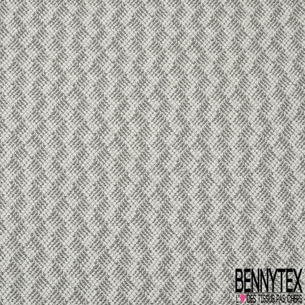 Jacquard de Laine motif Rayure Chevron Verticale Blanc Cassé Noir Lurex Or
