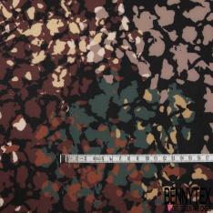 Maille Crêpée Elasthanne motif Floral Destructurée ton Naturel fond Noir