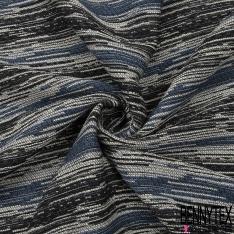 Jacquard de Laine Tissé Teint motif Rayure Horizontale Fantaisie effet Chiné ton Indigo noir et blanc