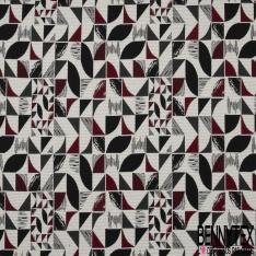 Jacquard de Laine Tissé Teint motif Sinusoïdale Fantaisie ton Indigo noir