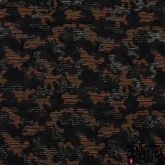 Brocart Coton Tissé motif Camouflage Orange Beige Noir LUREX Canon de Fusil