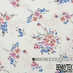 Popeline Coton imprimé Motif Bouquet de Fleur ton Rose et Bleu fond Blanc