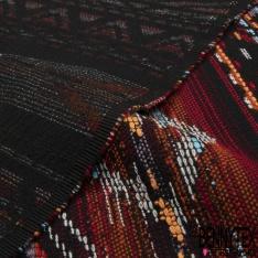 Coton Natté Imprimé Motif Mexicain ton Rouge Bleu ciel Bordeaux Orange