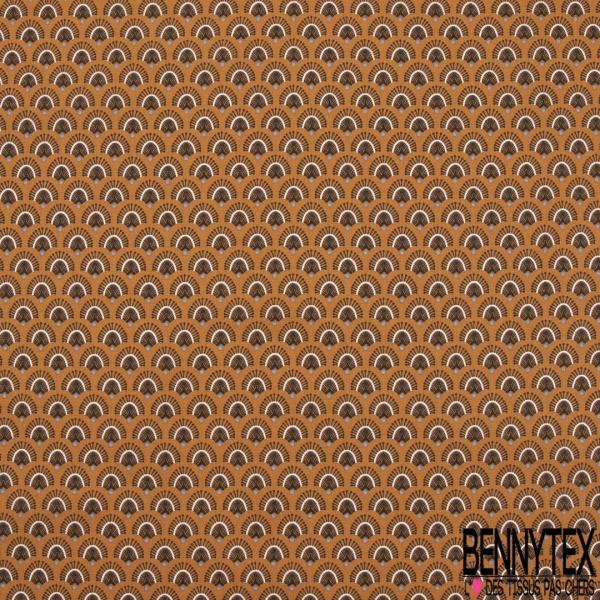 Crétonne 100% coton Impression Motif plume de paon Fond ocre-rouge