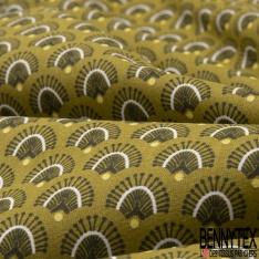 Crétonne 100% coton Impression Motif plume de paon Fond asperge