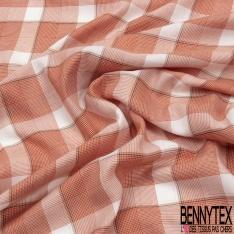 Fibranne Viscose Coton Légère Ecossais ton Prune Rose Corail Lurex Or Blanc
