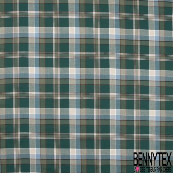 Fibranne Viscose Coton Souple et Légère Tartan ton Vert Kaki Marron Beige Bleu