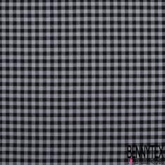 Fibranne Viscose Coton Sergé Fluide Petit Carreaux Noir et Gris Souris