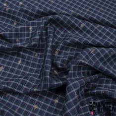 Fibranne Viscose Coton Légère Sergé Grand Quadrillage Vert Marine Blanc Mylar Or Losange