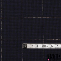 Fibranne Viscose Coton Souple Mini Carreaux Marine Noir LUREX Cuivre