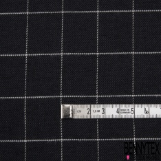 Fibranne Viscose Coton Souple Mini Carreaux Anthracite Noir LUREX Argent