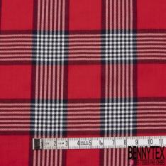 Fibranne Viscose Coton Légère Grand Quadrillage Rouge Noir Blanc