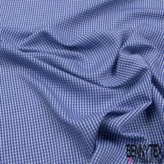 Coton Seersucker imprimé petit Vichy ton Bleu Klein Blanc