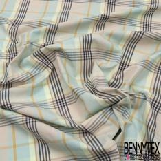 Popeline Coton imprimé Carreaux Noir Anis Vert d'eau Ocre Beige Lurex Or