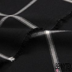 Fibranne Viscose Coton Sergé Lourd Grand Carreaux Noir Blanc