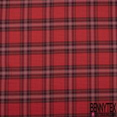 Fibranne Viscose Coton Sergé Lourd Quadrillage Noir Bleu fond Jaune Or LUREX Argent