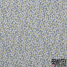 Fibrane Viscose Imprimé Motif Champêtre Jaune Blanc fond Bleu Gris