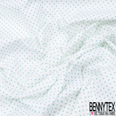 Coupon 3m Coton Elasthanne imprimé Motif Dots Anis fond Blanc