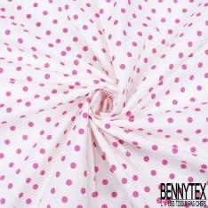 Coupon 3m Coton Elasthanne imprimé Motif Dots Rose fond Blanc