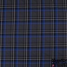 Fibranne Viscose Coton Sergé Tartan Bleu Roi Noir Ecru Fond Anthracite