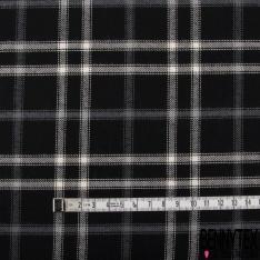 Fibranne Viscose Coton Sergé Touché Laine Double Carreaux Ecru Ardoise fond Noir