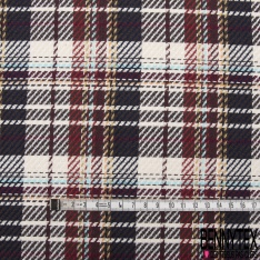 Coupon 3m Coton Natté Imprimé Tartan bordeaux écru marine marron et Blanc