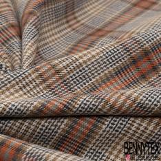 Gabardine Coton Elasthanne Prince de Galles ton Orange Gris Ocre fond Mastic