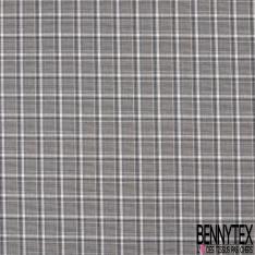Gabardine Coton Elasthanne Carreaux type Nappe Retro ton Gris Ecru Noir