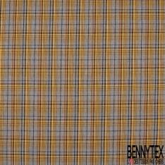Gabardine Coton Elasthanne Prince de Galles ton Orange Pastel Orange Brûlée Noir Blanc