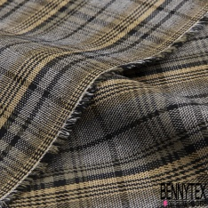 Gabardine Coton Elasthanne Prince de Galles ton Jaune Pastel Kaki Noir Blanc