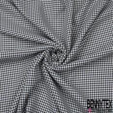Coupon 3m Polyester Imprimé Carreaux Style Pied de Puce Canard Blanc Cassé Noir