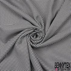 Coupon 3m Polyester Imprimé Pied de Puce Blanc Cassé et Noir