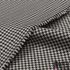 Coupon 3m Polyester Imprimé Pied de Puce Ivoire et Noir