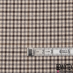 Coupon 3m Polyester Imprimé Petit Carreaux Choco Camel Beige Gris