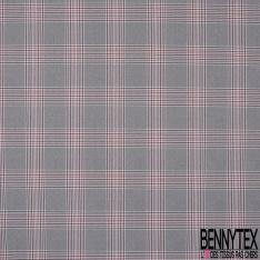 Coupon 3m Polyester Imprimé Prince de Galles Vieux Rose Noir Ecru