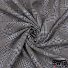 Coupon 3m Polyester Imprimé Prince de Galles Indigo Gris Souris Noir