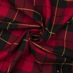 Coupon 3m Polyester Imprimé Ecossais Rouge Jaune Noir