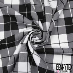 Coupon 3m Polyester Imprimé Ecossais Blanc Noir