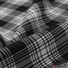 Coupon 3m Polyester Imprimé Tartan Noir Blanc