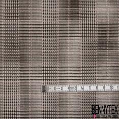 Coupon 3m Polyester Imprimé Prince de Galles Noir Beige Rose Pâle