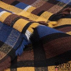 Coupon 3m Coton Natté Imprimé Quadrillage Jaune Or Marron Noir Bleu roi