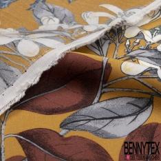 Satin Fibrane Viscose Imprimé Motif fleur japonaise Fond bleu givré