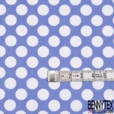 Satin de Coton Léger Imprimé Motif Pois blanc Fond Bleu