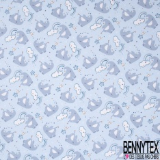 Jersey Coton Elasthanne Imprimé Elephant Féérique fond Bleu Ciel