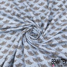 Jersey Coton Elasthanne Imprimé Tête de Loup avec Lunette fond Bleu Clair