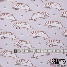 Jersey Coton Elasthanne Imprimé Baleine Fantaisie fond Lin chiné
