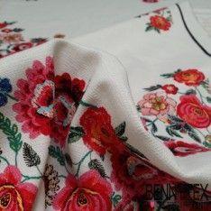 Piqué de Coton Panneau Fleur Symetrique